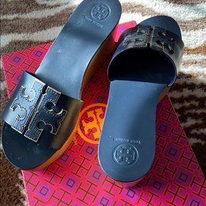Tory Burch navy blue wedge platform shoe